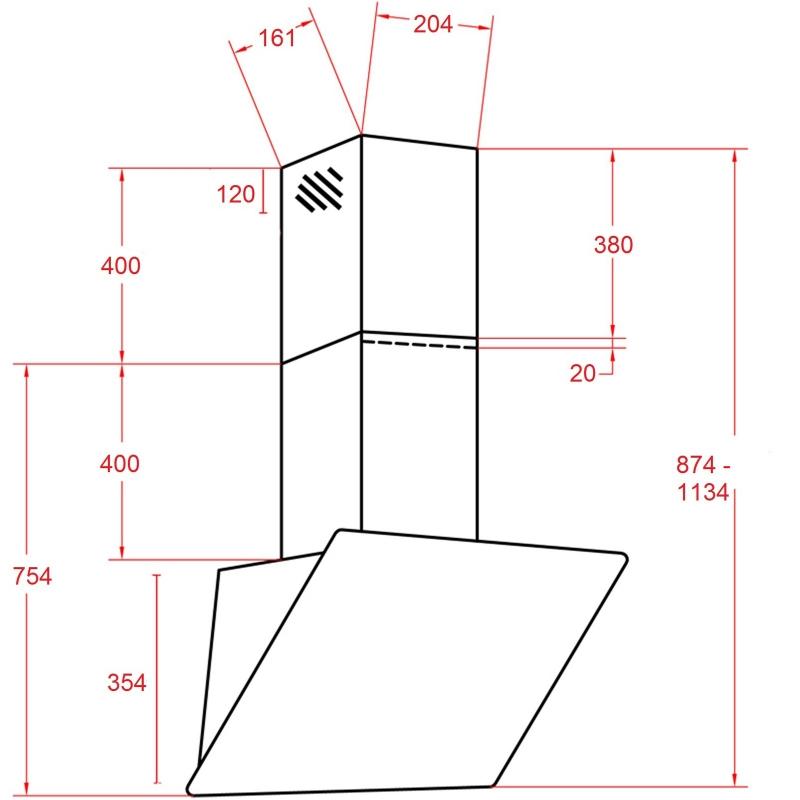 kopffreihaube akazia wei glas 60 cm umluft inkl 1 p. Black Bedroom Furniture Sets. Home Design Ideas